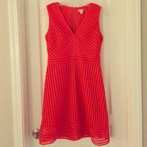 J crew red spring summer July dress 6
